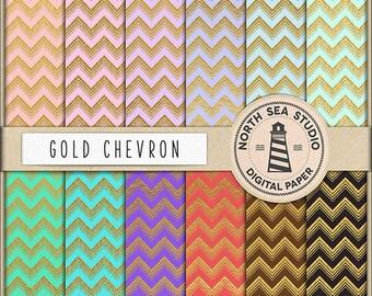 BUY5FOR8 Gold Chevron digitales Papier Chevron Papier goldenen Muster Digital Scrapbooking 12 JPG 300dpi Dateien herunterladen