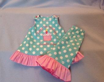 Happy Birthday Birthday Girl   Aqua Aline dress with ruffle on the bottom