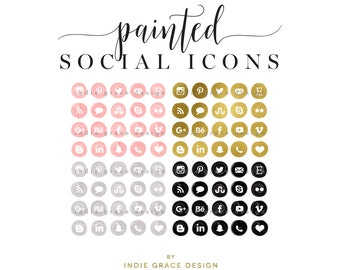 Watercolor Social Icons - Acrylic Social Media Icons - Painted Social Media Icons - Gold Foil Icons - Social Media Icons - blog buttons