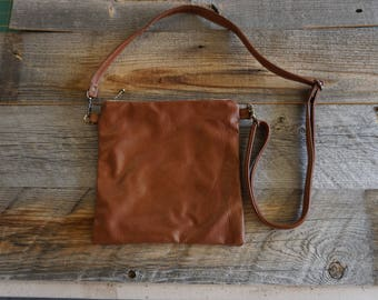Soft Designer Leather Cross body Purse ~ Everyday Bag ~ Zippered pouch