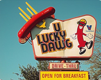 Chicago Photo, Chicago Photography, Chicago Art, hot dogs, Rogers Park, vintage sign photo, U LUCKY DAWG, red, yellow, Americana, kitsch