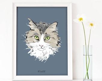 Custom cat portrait, custom pet portrait, cat portrait, cat decor, cat art, contemporary cat art, sketchy cat, cat wall art, cat gift