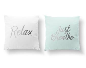 SET of 2 Pillows, Relax Pillow, Just Breathe Pillow, Bedroom Decor, Throw Pillow, Kids Pillow, Cushion Cover, Gold Pillow, Positive Energy