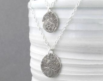 Silver Layering Necklace Silver Jewelry Geometric Jewelry Bohemian Jewelry Rustic Jewelry Silver Pendant Necklace - Unique Petites