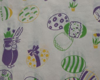 Vintage Mod Easter Egg Gift Wrapping Tissue Paper, Purple Green Holiday Retro Wrap, 1 sheet