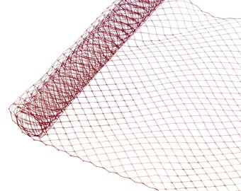 """1 Yard x 10"""" Maroon Russian Millinery Birdcage Veil Netting - Available in 19 Colors"""