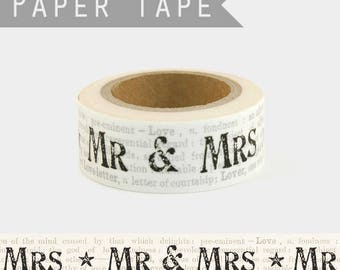 10 m Washi tape for a wedding - pretty masking tape wedding Mr Mrs