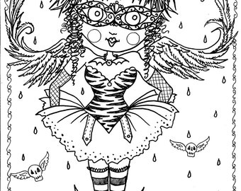 Instant Download 5 pages Gothic Angels Art Digital Coloring Book