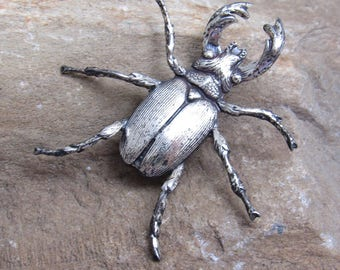 Sterling Beetle Brooch Vintage Bug Jewelry P8090