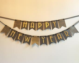 Happy New Year Banner - New Year's Eve Party - New Year's Eve Decor - New Year Banner
