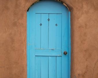 New Mexico photography, southwest photography, door photography, southwestern decor, adobe, blue door, large wall art, turquoise, travel art