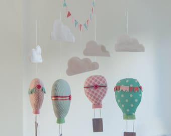 Hot air balloon mobile, Pink & Mint hot air balloons, Baby Mobile, Nursery Decor, Travel Theme, Nursery Mobile, Fabric Hot air balloons