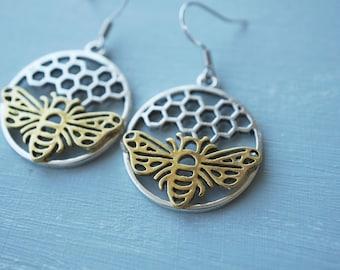 Earrings, silver honeycomb and bee dangle earrings