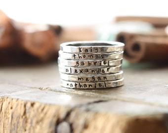 Personalized stackable stacking ring/ hand stamped sterling silver stacking ring / christmas gift for mom / gift for her / gift for grandma