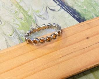 925 silver citrine eternity band, size 7 ring, citrine ring, eternity band, silver ring