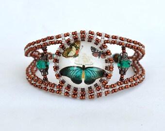 Butterflies in copper beadwork bracelet Bracelet with glass cabochon Butterfly jewelry Beadwork cuff Wide seed beads bracelet B367