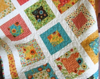 San Francisco Window Boxes Lap or Baby Quilt Pattern....Quick and Easy LAYER Cake or Fat Quarters ..PDF version
