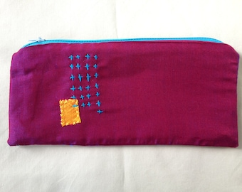 Hand embroidered zipper bag