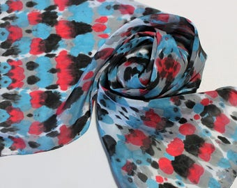 Hand Painted Silk Scarf - Handpainted Scarves Tie Dye Dyed Black Turquoise Aqua Blue Red Gray Grey Silver White Spring Summer