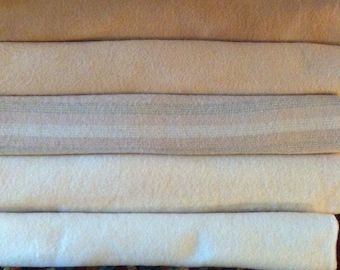 ANTIQUE WHITE GROUP  hand dyed and felted wool for rug hooking or other fiber arts projects