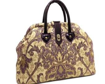Royal Purple Chenille Damask Mary Poppins Carpet Bag / Medium Size Handbag / Real Purple Leather Handles / Ready to Ship