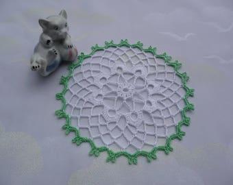Crochet doily handmade cotton white and green.
