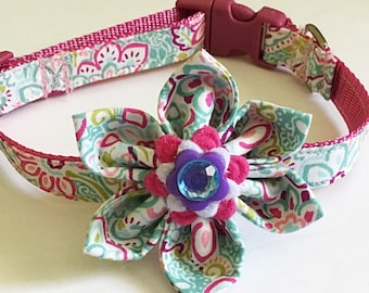 Pink, Purple and Aqua Floral Collar with Flower for Girl Dog or Cat