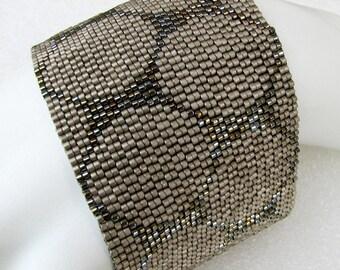 Steel and Silver Punchinella Peyote Cuff Bracelet (2481)