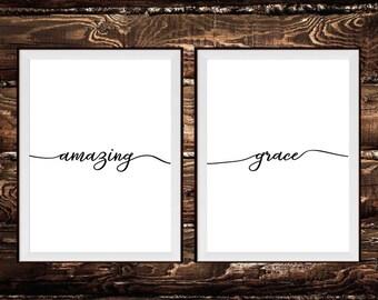 Amazing Grace Prints - Black & White Scripture Print, Christian Print, Christian Wall Art, Scripture Art, Bible Verse
