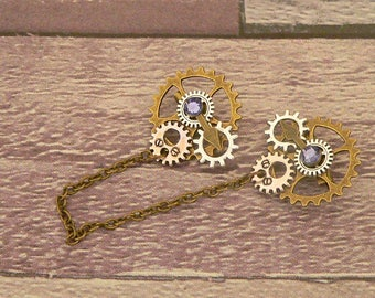 Purple Steampunk Collar Pins, Sweater Pins, Steampunk Brooch, Collar Chain, Steampunk Jewellery, Lapel Pins, Collar Brooch