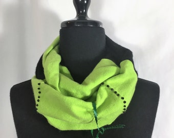 Infinity Cashmere Wool Scarf made from upcycled neon  green and black sweaters