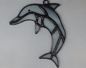 Beautiful ocean dolphin, porpoise in stained glass