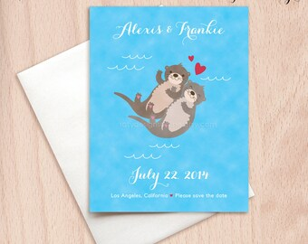Custom Save the Date Otters Wedding Cards - Postcards