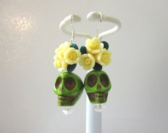 Sugar Skull Earrings Day Of The Dead Jewelry Green Yellow