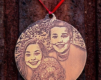 Custom Etched Copper Christmas Ornament