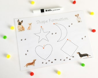 Dog Themed Shape Formation Mats, Wipe Clean A4 Laminated Mats for Handwriting Practice, Tracing and Learning Shapes, Early Learning