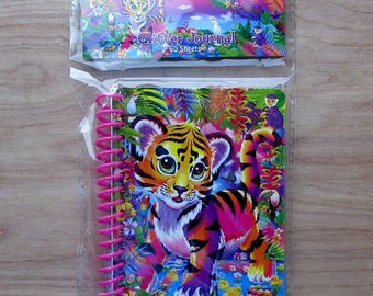 New Lisa Frank Colorful Small Spiral Glitter Journal/Notebook ForrestRetro -Rainbow - Super Cute!