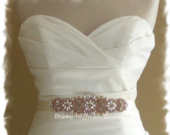 Rose Gold Bridal Sash, Gold Bridal Sash, Pearl Rose Gold Wedding Sash, Silver Bridal Belt, Crystal Jeweled Rose Gold Wedding Belt, No. 4060S