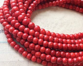 """1 Full Strand (15"""") (over 85 pieces) of 4 mm Red Turquoise Gem Stone Beads(gz sdu - t.g)"""
