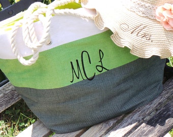 Bachelorette Party Bride Gift, Monogrammed Beach Tote Bag, Bride Gift Basket, RESERVED LISTING