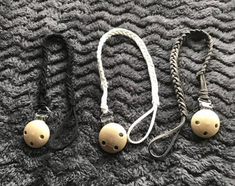 Set of 3 Braided Suede Pacifer Clips
