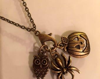 "Halloween/Autumn Charm Necklace -18"" Antique Bronze chain-Three Charms- Owl,  Spider,  Jack-o-Lantern"