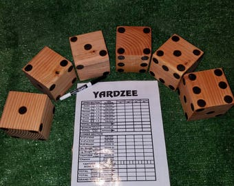 2 in 1 Yardzee/Farkle Game Large Dice and Scorecard Outdoor games Fast Shipping