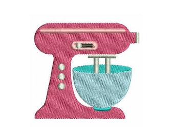 kitchen mixer machine embroidery design mini fill stitch cake mixer embroidery kitchen aid - Bakers Gonna Bake Kitchen Redwork Embroidery Designs