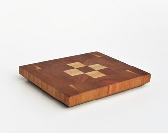 End grain decorated cheese board