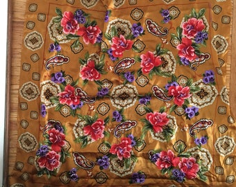Gold Asian Motif Floral Silk Scarf