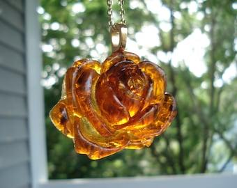Autumn Rose Vintage Antique Rootbeer Amber Japan Flower Pendant Gold Necklace Nature Inspired