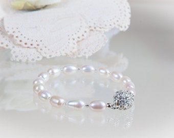 Cultured Pearl Bracelet, Ivory pearl, silver rhinestone magnetic clasp, Wedding jewellery, bride, mother of bride, gifts, bridesmaid gifts
