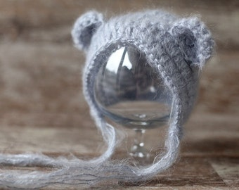 Mohair Baby Bear Newborn Hat, 10 COLORS, Baby knitted hat, Baby Boy Baby girl Hat, Knit baby hat, Photo prop, Photography