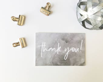 Thank You Cards, Watercolor Thank You Cards, Printed Cards, Thank You Notes, Wedding Thank You, Gray and White, PHYSICAL PRINT